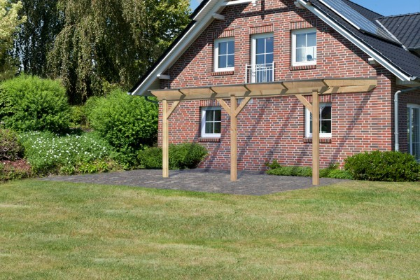Terrassenüberdachung Premium Größe 2 B verlängerbar mit geraden Kopfbändern