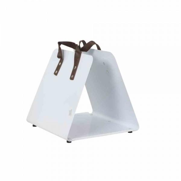 SIENA GARDEN Kaminholzkorb Pure, Metall pulverbeschichtet, weiß glänzend, mit Kunstledergriff, 39,5x35x36cm, zerlegt, einzeln kartonverpackt