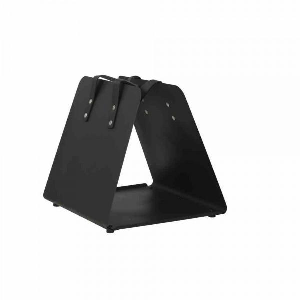 SIENA GARDEN Kaminholzkorb Pure, Metall pulverbeschichtet, schwarz matt, mit Kunstledergriff, 39,5x35x36cm, zerlegt, einzeln kartonverpackt