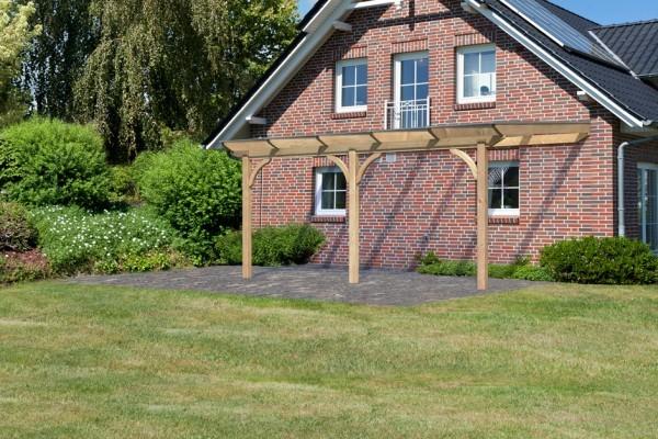 Terrassenüberdachung Premium Größe 3 B verlängerbar mit runden Kopfbändern