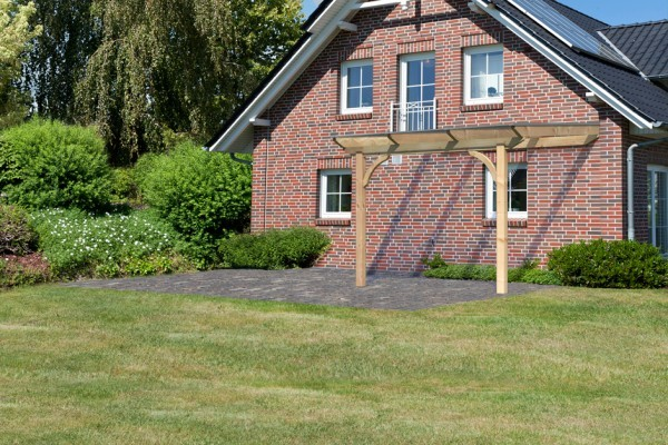Terrassenüberdachung Premium Größe 2 A verlängerbar mit runden Kopfbändern